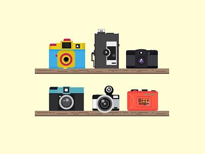 Lomo Cameras flat illustration design