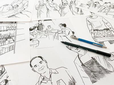 La Cuina d'en Garriga tombow portrait illustration restaurant gastronomy web hand drawn illustration