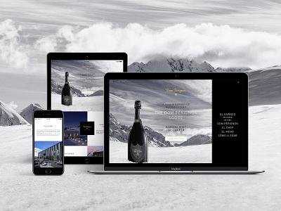 Dom Pérignon Lodge ski snow champagne responsive design landing page design luxury brand ui design web