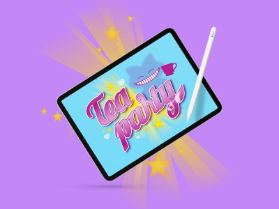 Tea Party Logotype digitalart alice in wonderland aliceinwonderland videogame hand drawn vector illustration