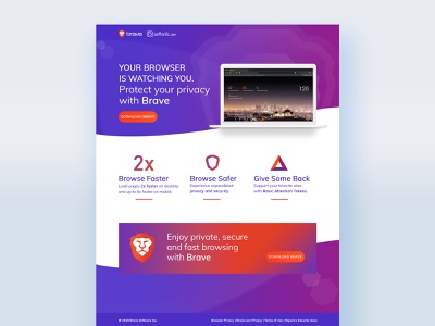 Softonic Brave graphic test software as a service browser saas software ui landing page design web