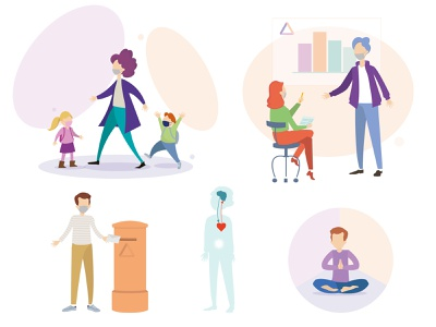Vector illustrations for a website school masked covid19 covid-19 balance child illustration people illustration peoples flat illustrations flat design webdesign vector illustration vector