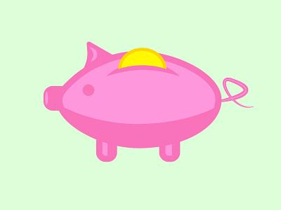 Simple and Flat - Piggy Bank illustration illustrator logo website ui web ux branding design graphic design