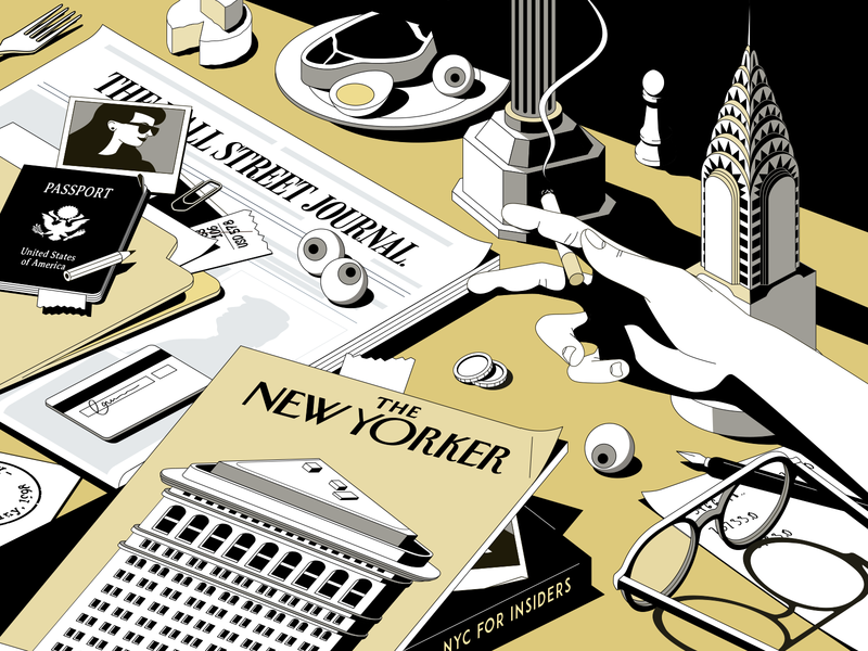 NYC passport egg smoke glasses journalist hand eyeball beef nyc press illustration
