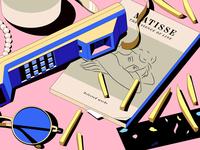 Matisse matisse book retro fries pearls telefunken isometric illustration