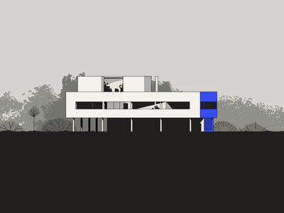 Villa Savoye art villa savoye building france le corbusier modernism architecture illustration