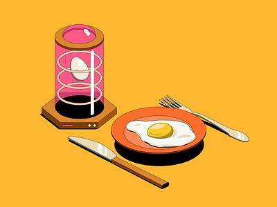Robinhood App - illustration set vol 1 egg cooking robot food space futuristic ueno branding design isometric illustration