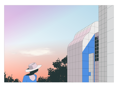 Des Moines Art Center - Richard Meier landscape girl woman sunset builing richar meier drawing architecture illustration
