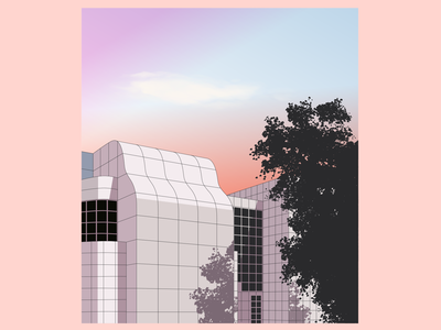 Richard Meier museum building grid salmon richard meier architecture sunset illustration