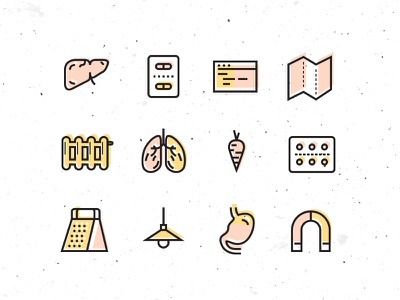 Another useless icon set liver lungs pills set line minimal illustration icon flat