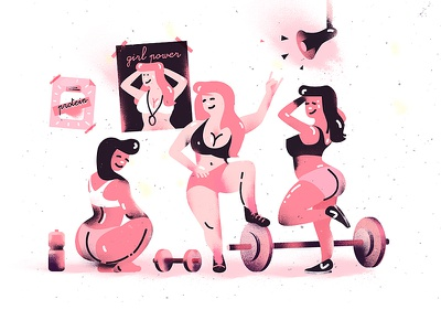 Hit the gym fitness sport fit sweat girls weights power protein illustration gym