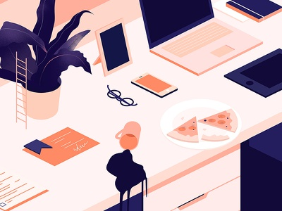Pretty mess tablet phone isometric mess pizza work designer desk illustration