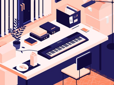 Keyboard room kiss music keyboard isometric mess work designer desk illustration carpet