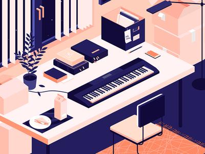 Keyboard room kiss music keyboard isometric mess work designer desk illustration carpet