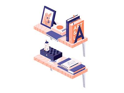 Salmon shelves art chess japan books shelf isometric iso illustration