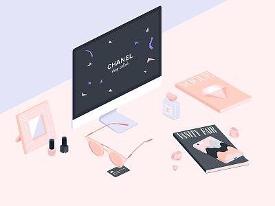 Vanity chanel glasses luxury diamond vogue isometric iso illustration
