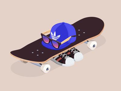 Modern teenage riot sunglasses shades teenage adidas cap skateboard isometric iso illustration