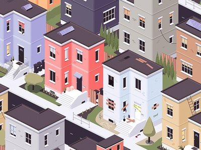 Neighborhood simcity building street architecture city illustration isometric iso