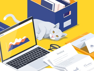 An accountant's dream company business office charts books papers invoice accountant desk cat isometric iso illustration