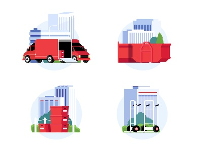 Move! building truck city box moving icons
