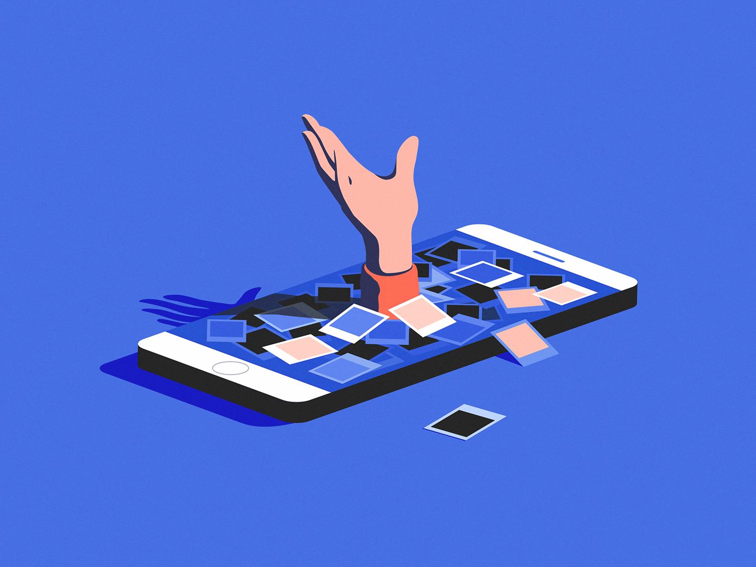 Gone vr web iso hand app human social media mobile illustration
