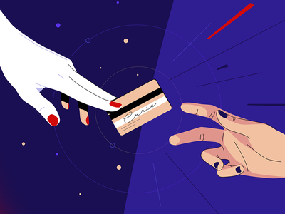 Premium hands credit card vector illustration