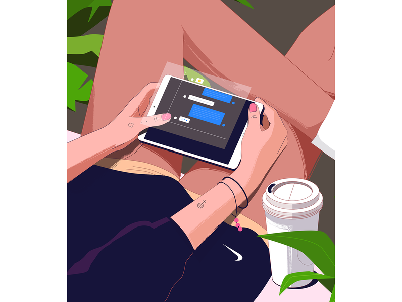 Chatty plant chat nike coffee girl tablet design illustration