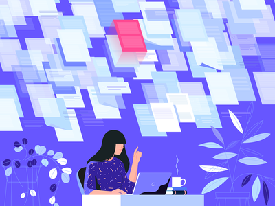 Papers work desk coffee vector plant girl papers illustration