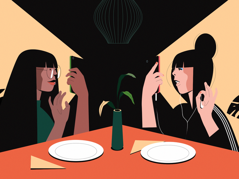 Lunch mobile table restaurant girls friends lunch illustration