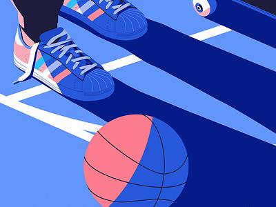Basket isometric adidas basketball skateboard sports vector design illustration
