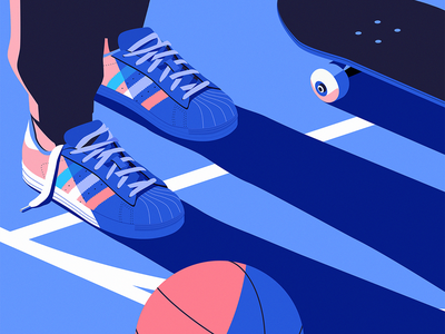 Basket isometric adidas basketball skateboard sports vector design illustration