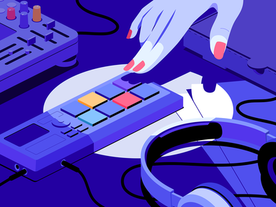 Sampler hand vector light headphones pizza mixer music girl illustration