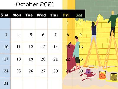 Calendar Illustration for October 2021 teamwork paint art flat character graphic design procreate painters characterdesign calendar illustration