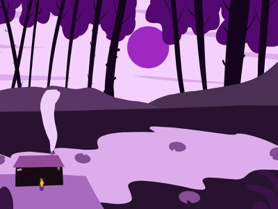 NIGHT SHOT trees house lake moon night landscape illustration graphic design