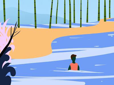 Lake man lake landscape flat character design graphic design characterdesign procreate illustration