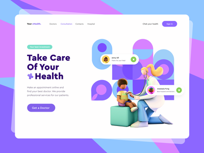 Health Care health app doctor app uitrends service colorful covid19 uidesign meds hospital concept doctor healthy healthcare care health covid