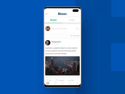 Bisner - Mobile app walkthrough after effects transition microinteraction animation mobile app app ui prototype meetings interactive design events majo puterka uiux ux ui design system sketch chat newsfeed feed app