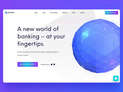 Nemondo - Crypto-trading solution webgl ui ux cryptocurrency crypto banking 3d model model globe 3d sketch threejs flow studio flow nemondo website