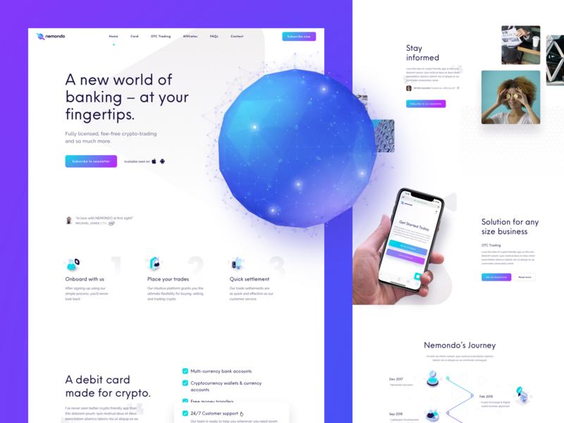 Nemondo - Crypto-trading solution website nemondo flow flow studio threejs sketch 3d globe model 3d model banking crypto cryptocurrency ux ui webgl
