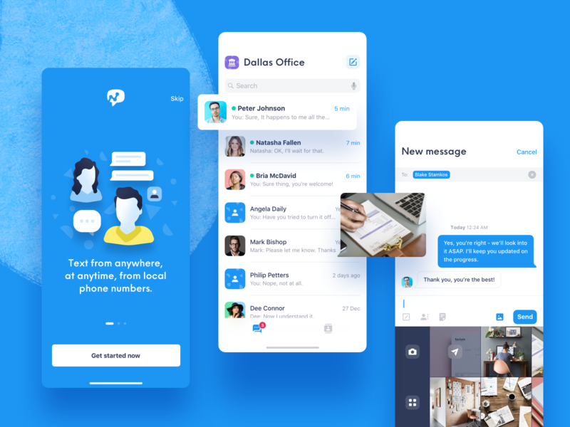 Salesmsg iOS App - Two way business texting app iphone ios sketch app design ios app empty state conversation contacts message messaging salesmsg mobile app iphone xs iphone x ux ui wireframes