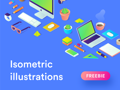 Free Isometric illustrations - available for download again. goods ui freebie sketch isometric free ai illustrator vector gradient freebies illustrations