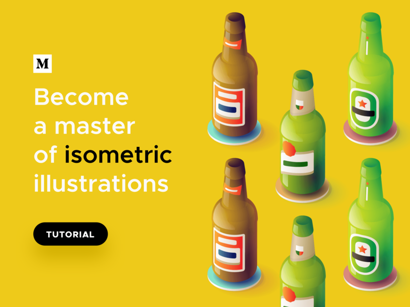 TUTORIAL: Become a master of isometric illustrations -3D effect majo puterka class medium illustration user interface design user interface course tutorials tutorial illustrations freebies gradient vector illustrator ai free isometric sketch freebie ui