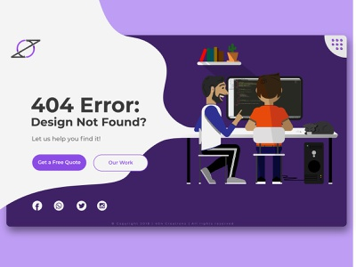 404 Creations Landing Page illustrator adobe design landing design landingpage creation 404