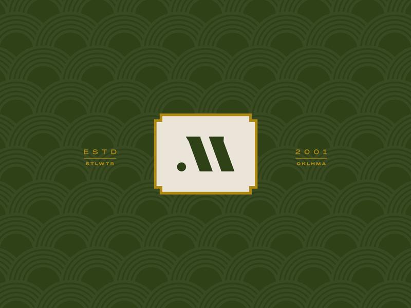M Mark geometric square green badge identity type branding brand logo