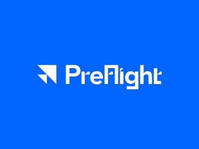 Preflight Tech - Rebound minimal airplane plane triangle triangles technology tech flight blue typography type branding brand logo