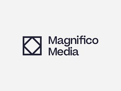 Magnifico Media diamond square geometric triangle identity type branding brand logo