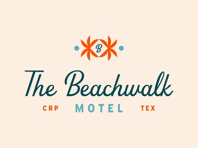 The Beachwalk Motel ocean waves water sun palm tree palm beach crab inn motor inn motel hotel identity typography type branding brand logo