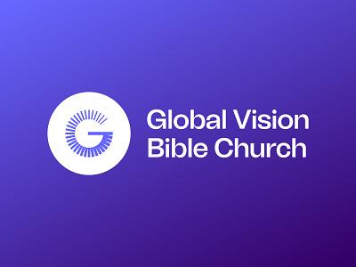 Global Vision Bible Church - Rebrand bible church blue purple blurple globe g identity typography type branding brand logo