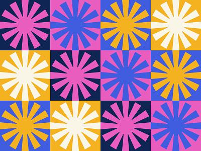 Patterns & Colors mod mid century vintage retro illustration pattern identity logo sunburst sun branding brand intense bright color