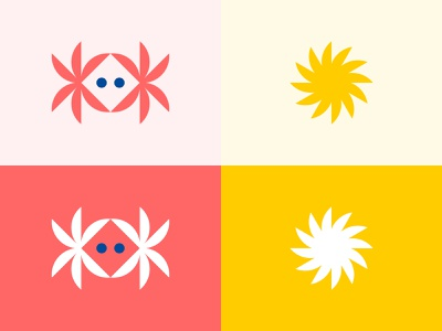 Beachwalk Motel - Illustration Work crab diamond b flower sun palm tree palm beach ocean water brand branding identity illustration